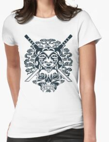 Samurai Mask and Skull Womens Fitted T-Shirt