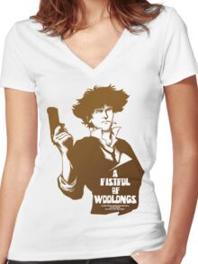 A Fistful of Woolongs Women's Fitted V-Neck T-Shirt