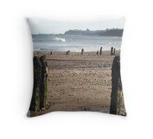 Wooden Piles on Beach Throw Pillow