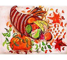 Horn of plenty, enjoy the holidays, watercolor Photographic Print