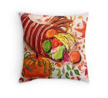 Horn of plenty, enjoy the holidays, watercolor Throw Pillow