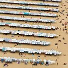 Beach and Booths, Nazaré, Portugal by physiognomic