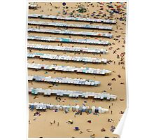 Beach and Booths, Nazaré, Portugal Poster