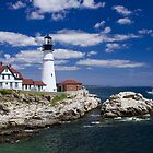 Portland Head Light and Sailboat by Mark Van Scyoc