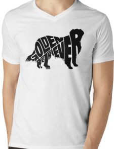 Golden Retriever Black Mens V-Neck T-Shirt