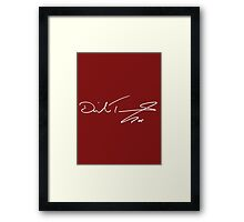 David Tennant White Autograph Maroon Framed Print
