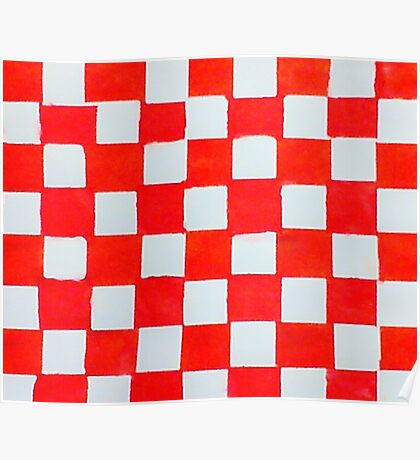 Checker board pattern red and white, watercolor Poster