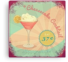 50s Pink Martini Cheesecake Cocktail Canvas Print