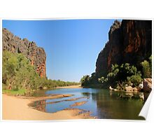 view of the lennard river and devonian reef, windjana gorge Poster
