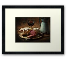 Still life with salami and sourdough Framed Print