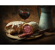 Still life with salami and sourdough Photographic Print