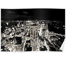 Sydney Lights (Black and White) Poster