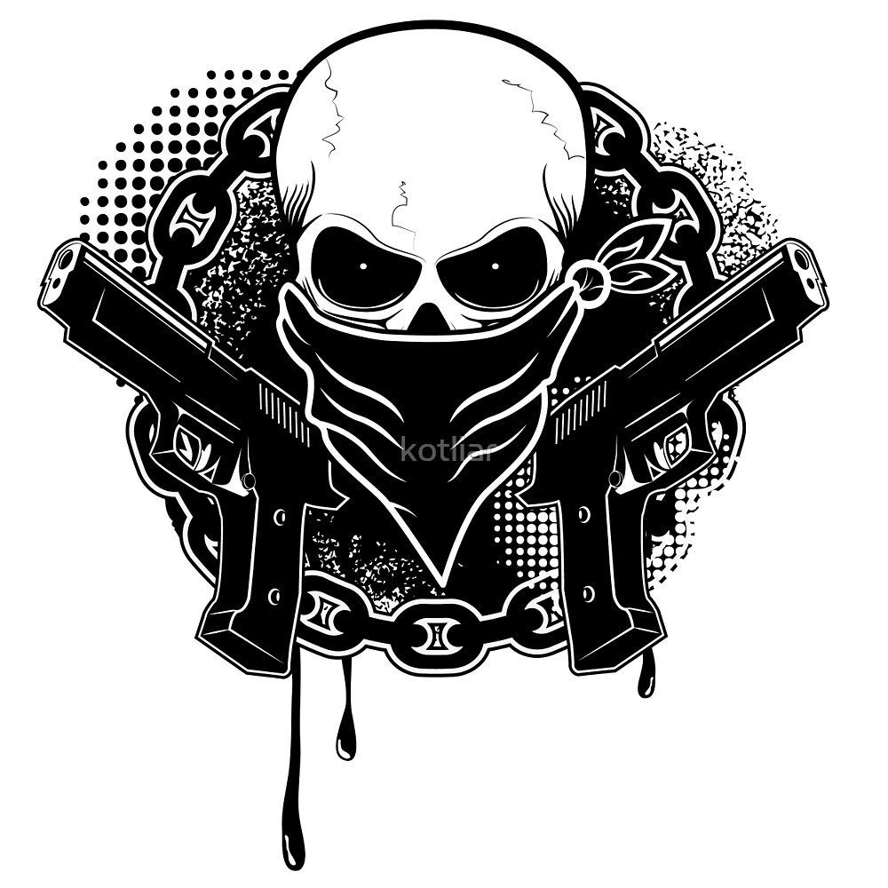 Quot Skull With Guns Quot By Kotliar Redbubble