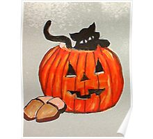 Kitty poking out of pumpkin, watercolor Poster