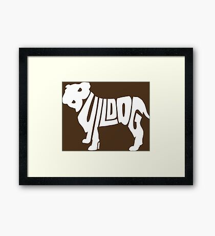 Bulldog White Framed Print
