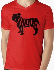 Bulldog Black Mens V-Neck T-Shirt