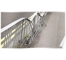 road traffic accident/dented fence -(120811b)- digital photo Poster