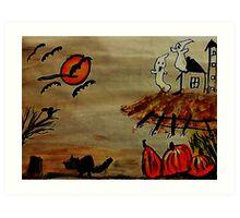Spooky night #2( now darker, like #1), watercolor Art Print