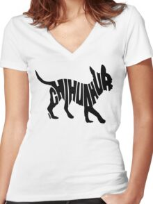 Chihuahua Black Women's Fitted V-Neck T-Shirt