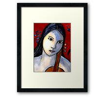 Blue Girl with Red Violin (Close Up) Framed Print