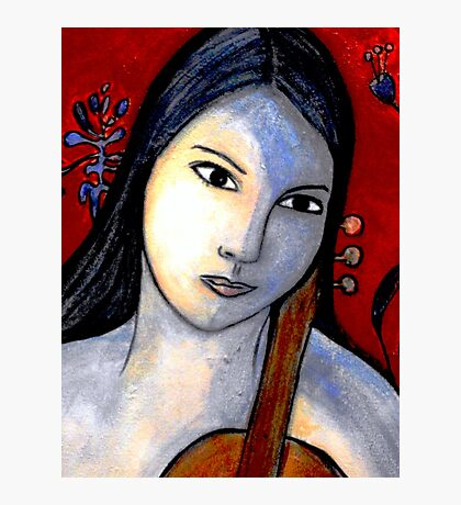 Blue Girl with Red Violin (Close Up) Photographic Print