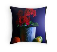 Potted Flower with Fruit Throw Pillow