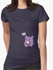 Gengar with a sandwich Womens Fitted T-Shirt