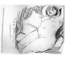 female nude/peaceful recliner -(140811)- copy of photo/pencil/A4 Poster