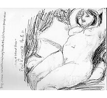 female nude/peaceful recliner -(140811)- copy of photo/pencil/A4 Photographic Print