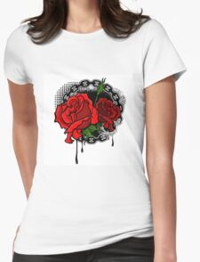 Roses on grunge background Womens Fitted T-Shirt