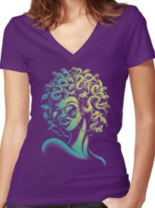 Funky Medusa Women's Fitted V-Neck T-Shirt