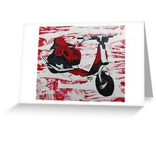 1980s Cutdown Scooter Red Greeting Card