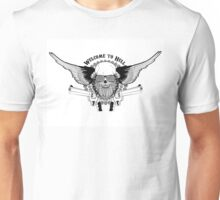 skull with wings and two pistols Unisex T-Shirt