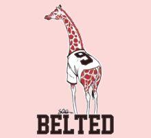 Belted Belt Giraffe One Piece - Short Sleeve