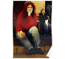 Woman with An Orange Poster