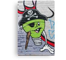 Green Graffiti lightbulb character on the textured wall Canvas Print