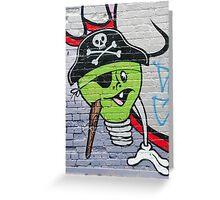 Green Graffiti lightbulb character on the textured wall Greeting Card