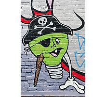 Green Graffiti lightbulb character on the textured wall Photographic Print