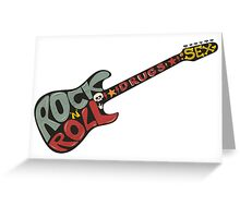 """Rock n roll"" vintage poster. Rock and Roll guitar logo in retro style Greeting Card"