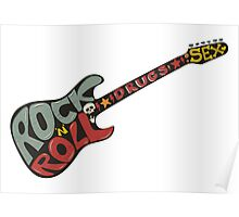 """Rock n roll"" vintage poster. Rock and Roll guitar logo in retro style Poster"