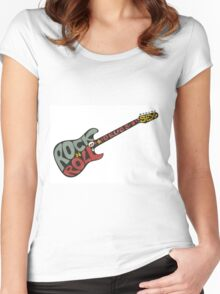 """""""Rock n roll"""" vintage poster. Rock and Roll guitar logo in retro style Women's Fitted Scoop T-Shirt"""