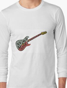 """""""Rock n roll"""" vintage poster. Rock and Roll guitar logo in retro style Long Sleeve T-Shirt"""