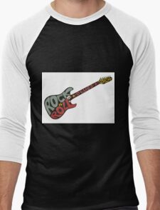 """Rock n roll"" vintage poster. Rock and Roll guitar logo in retro style Men's Baseball ¾ T-Shirt"