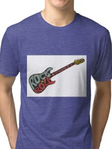 """Rock n roll"" vintage poster. Rock and Roll guitar logo in retro style Tri-blend T-Shirt"