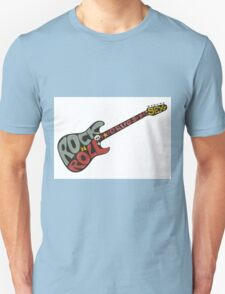 """Rock n roll"" vintage poster. Rock and Roll guitar logo in retro style T-Shirt"
