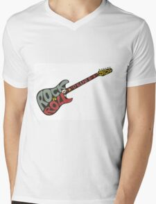 """Rock n roll"" vintage poster. Rock and Roll guitar logo in retro style Mens V-Neck T-Shirt"