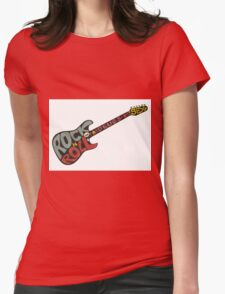 """Rock n roll"" vintage poster. Rock and Roll guitar logo in retro style Womens Fitted T-Shirt"