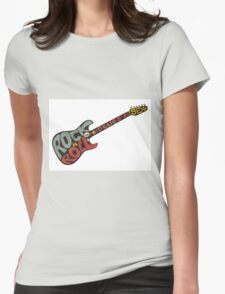 """""""Rock n roll"""" vintage poster. Rock and Roll guitar logo in retro style Womens Fitted T-Shirt"""