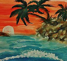 Pink sunset in seascape, watercolor by Anna  Lewis