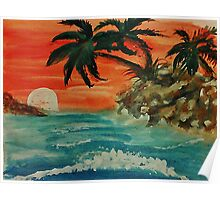 Pink sunset in seascape, watercolor Poster